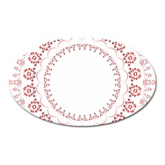 Floral Frame Pink Red Star Leaf Flower Oval Magnet by Alisyart