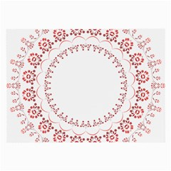 Floral Frame Pink Red Star Leaf Flower Large Glasses Cloth (2 Side) by Alisyart