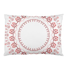 Floral Frame Pink Red Star Leaf Flower Pillow Case (two Sides) by Alisyart