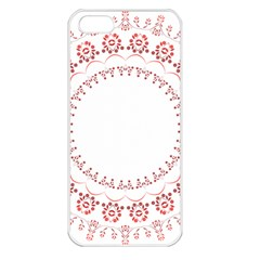 Floral Frame Pink Red Star Leaf Flower Apple Iphone 5 Seamless Case (white) by Alisyart