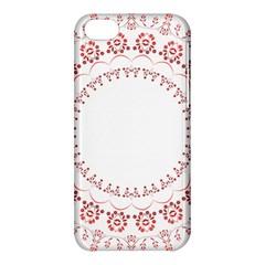 Floral Frame Pink Red Star Leaf Flower Apple Iphone 5c Hardshell Case by Alisyart