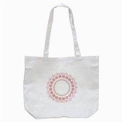 Floral Frame Pink Red Star Leaf Flower Tote Bag (white) by Alisyart