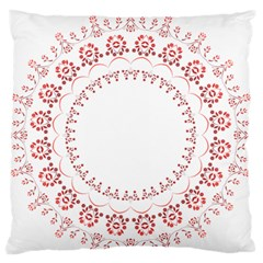 Floral Frame Pink Red Star Leaf Flower Large Flano Cushion Case (two Sides) by Alisyart