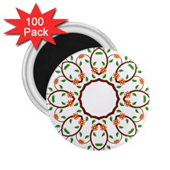 Frame Floral Tree Flower Leaf Star Circle 2 25  Magnets (100 Pack)  by Alisyart