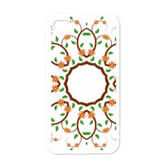 Frame Floral Tree Flower Leaf Star Circle Apple Iphone 4 Case (white) by Alisyart