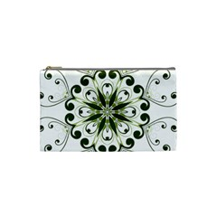 Frame Flourish Flower Green Star Cosmetic Bag (small)  by Alisyart