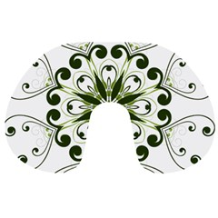 Frame Flourish Flower Green Star Travel Neck Pillows by Alisyart