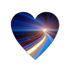 Glow Motion Lines Light Blue Gold Heart Magnet by Alisyart