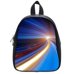 Glow Motion Lines Light Blue Gold School Bags (small)  by Alisyart