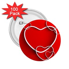 Heart Love Valentines Day Red 2 25  Buttons (100 Pack)  by Alisyart