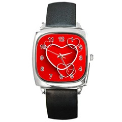 Heart Love Valentines Day Red Square Metal Watch by Alisyart