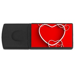 Heart Love Valentines Day Red Usb Flash Drive Rectangular (4 Gb) by Alisyart