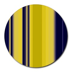Yellow Blue Background Stripes Round Mousepads by Simbadda