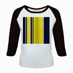 Yellow Blue Background Stripes Kids Baseball Jerseys by Simbadda