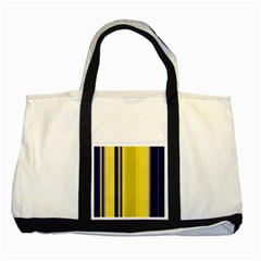Yellow Blue Background Stripes Two Tone Tote Bag by Simbadda