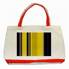Yellow Blue Background Stripes Classic Tote Bag (red) by Simbadda