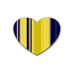 Yellow Blue Background Stripes Rubber Coaster (heart)  by Simbadda