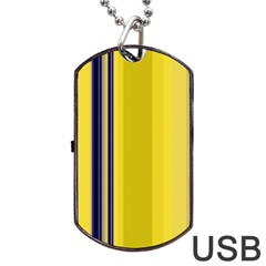 Yellow Blue Background Stripes Dog Tag Usb Flash (one Side) by Simbadda