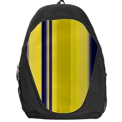 Yellow Blue Background Stripes Backpack Bag by Simbadda
