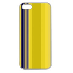 Yellow Blue Background Stripes Apple Seamless Iphone 5 Case (clear) by Simbadda