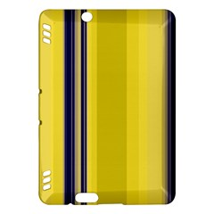 Yellow Blue Background Stripes Kindle Fire Hdx Hardshell Case by Simbadda