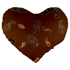 Brown Forms Large 19  Premium Heart Shape Cushions by Simbadda
