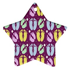 Baby Feet Patterned Backing Paper Pattern Star Ornament (two Sides) by Simbadda
