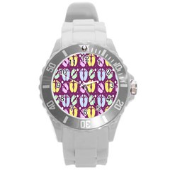 Baby Feet Patterned Backing Paper Pattern Round Plastic Sport Watch (l) by Simbadda