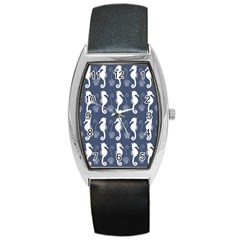 Seahorse And Shell Pattern Barrel Style Metal Watch