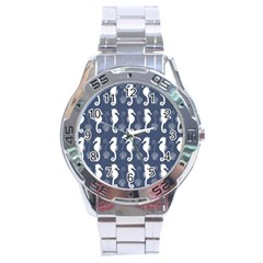 Seahorse And Shell Pattern Stainless Steel Analogue Watch by Simbadda