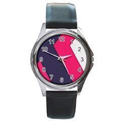 Pink Pattern Round Metal Watch by Simbadda