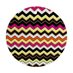 Colorful Chevron Pattern Stripes Pattern Round Ornament (two Sides) by Simbadda