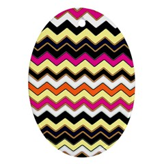 Colorful Chevron Pattern Stripes Pattern Oval Ornament (two Sides) by Simbadda