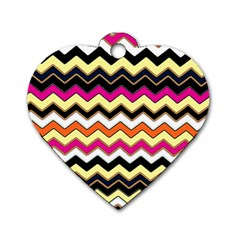 Colorful Chevron Pattern Stripes Pattern Dog Tag Heart (one Side) by Simbadda