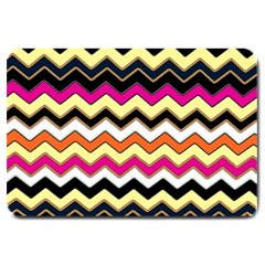 Colorful Chevron Pattern Stripes Pattern Large Doormat  by Simbadda