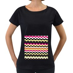 Colorful Chevron Pattern Stripes Pattern Women s Loose Fit T Shirt (black)