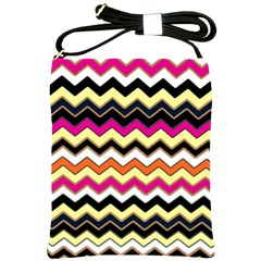 Colorful Chevron Pattern Stripes Pattern Shoulder Sling Bags by Simbadda