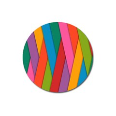 Colorful Lines Pattern Magnet 3  (round) by Simbadda
