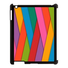 Colorful Lines Pattern Apple Ipad 3/4 Case (black) by Simbadda
