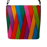 Colorful Lines Pattern Flap Messenger Bag (L)