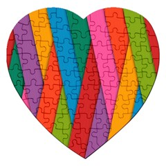 Colorful Lines Pattern Jigsaw Puzzle (heart) by Simbadda