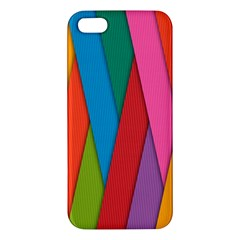 Colorful Lines Pattern Apple Iphone 5 Premium Hardshell Case by Simbadda