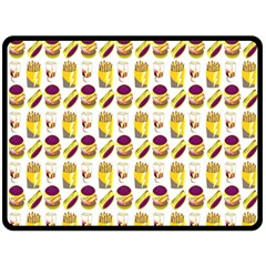 Hamburger And Fries Double Sided Fleece Blanket (large)  by Simbadda