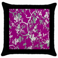 Floral Pattern Background Throw Pillow Case (black) by Simbadda
