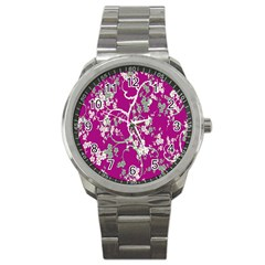 Floral Pattern Background Sport Metal Watch by Simbadda