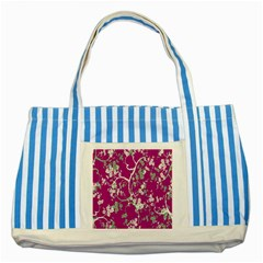 Floral Pattern Background Striped Blue Tote Bag by Simbadda