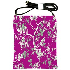 Floral Pattern Background Shoulder Sling Bags by Simbadda