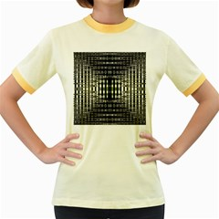 Interwoven Grid Pattern In Green Women s Fitted Ringer T Shirts by Simbadda