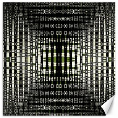 Interwoven Grid Pattern In Green Canvas 16  X 16   by Simbadda
