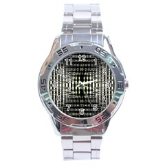 Interwoven Grid Pattern In Green Stainless Steel Analogue Watch